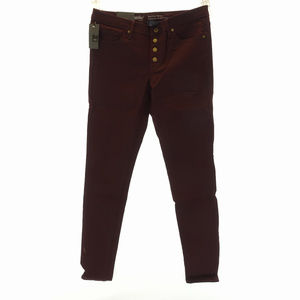Mid Rise Skinny Jeans Burgundy 10 30 Button Fly P